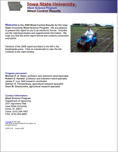 Weed Science Program 2008 Weed Control Results