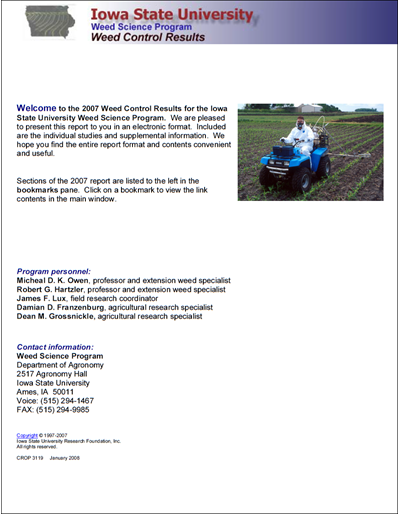 Weed Science Program 2007 Weed Control Results