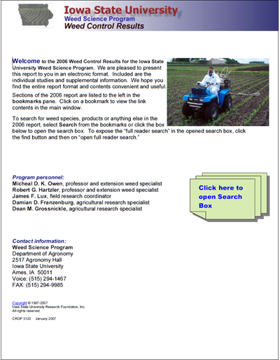 Weed Science Program 2006 Weed Control Results