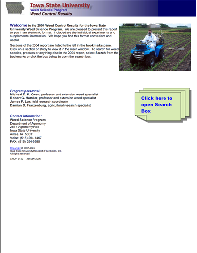 Weed Science Program 2004 Weed Control Results