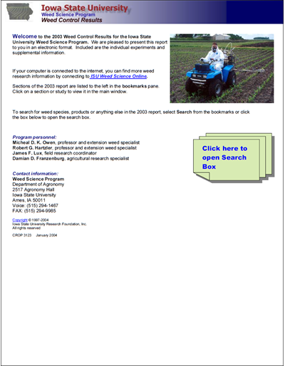 Weed Science Program 2003 Weed Control Results