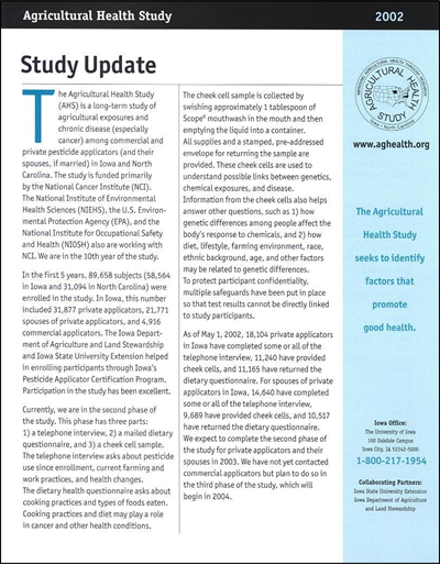 Agricultural Health Study -- Study Update 2002