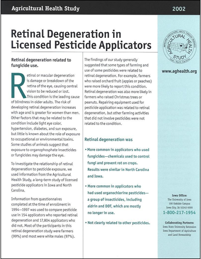 Retinal Degeneration in Licensed Pesticide Applicators -- Agricultural Health Study