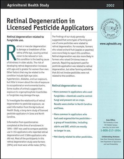 Retinal Degeneration in Licensed Pesticide Applicators -- Agricultural Health Study