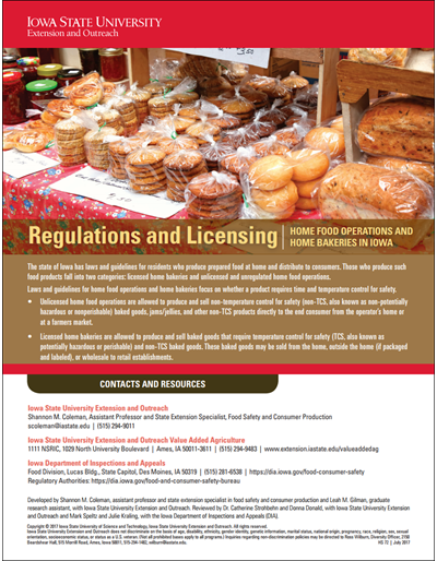 Regulations and Licensing - Home Food Operations and Home Bakeries