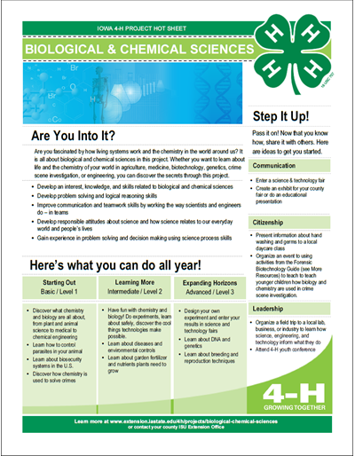 Biological and Chemical Sciences 4-H Project Area Hot Sheet