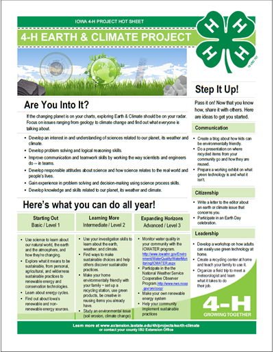 Earth and Climate 4-H Project Area Hot Sheet