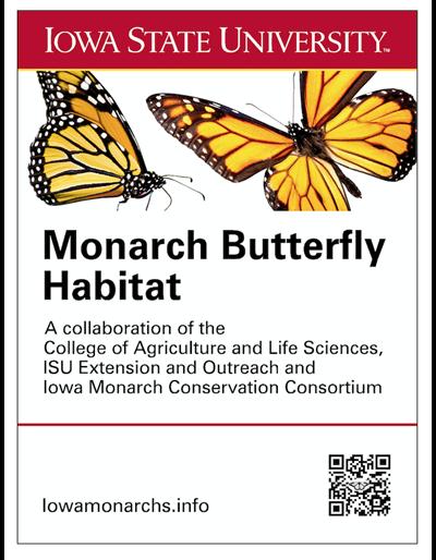 """Iowa State University Monarch Gardens aluminium sign (18"""" x 24"""")"""