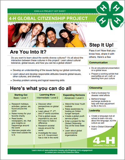 Global Civic Engagement 4-H Project Area Hot Sheet