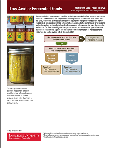 Marketing Local Foods in Iowa - Low Acid or Fermented Foods