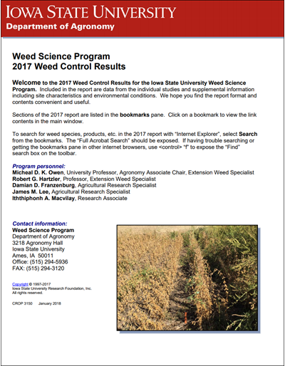 Weed Science Program 2017 Weed Control Results