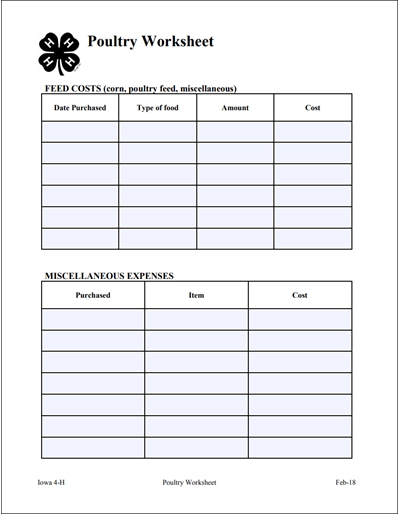 Poultry Worksheet