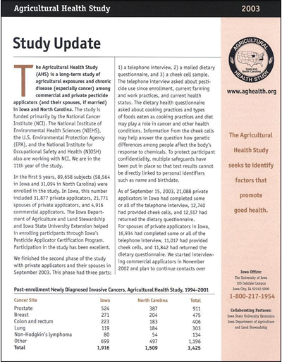 Agricultural Health Study -- Study Update 2003