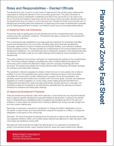 Planning and Zoning Roles and Responsibilities - Elected Officials