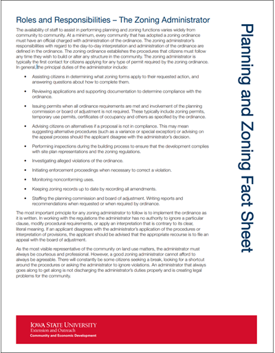 Planning and Zoning Roles and Responsibilities - The Zoning Administrator