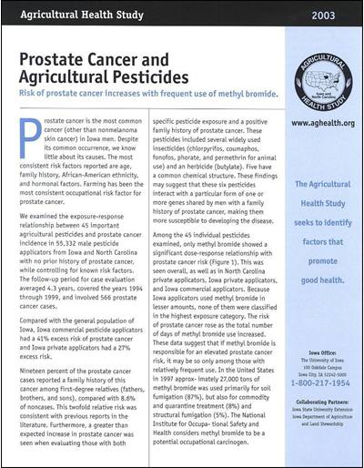 Agricultural Health Study -- Prostate Cancer and Agricultural Pesticides