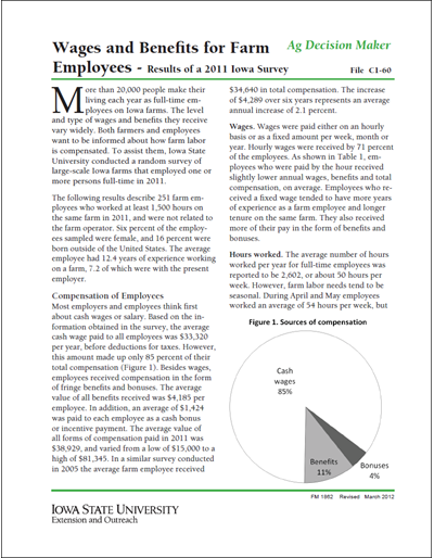 Wages and Benefits for Farm Employees |Results of a 2011 Iowa Survey