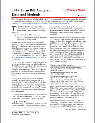 2014 Farm Bill Analyzer: Data and Methods
