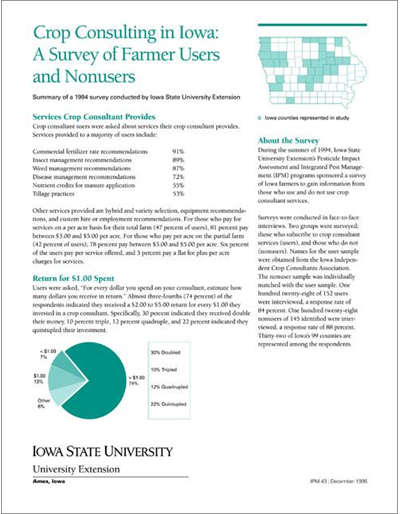 Crop Consulting in Iowa: A Survey of Farmer Users and Nonusers - Summary of a 1994 Survey