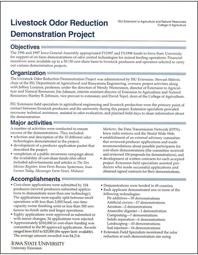 Livestock Odor Reduction Demonstration Project - Summary Sheet