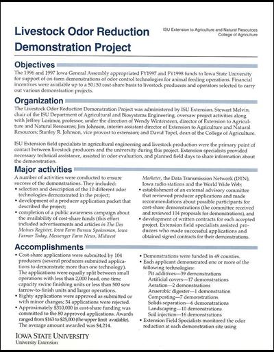 Livestock Odor Reduction Demonstration Project - Summary Sheet