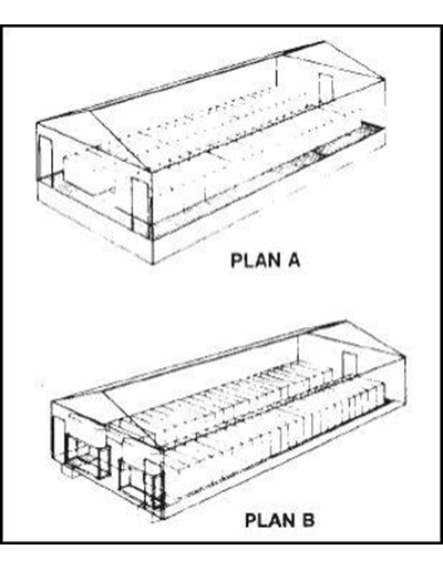 Two Rows of Stalls, 48 Sows -- Swine Gestation Building