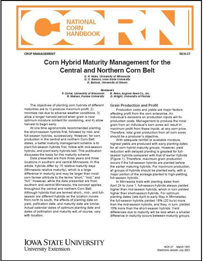 Corn Hybrid Maturity Management for the Central and Northern Corn Belt