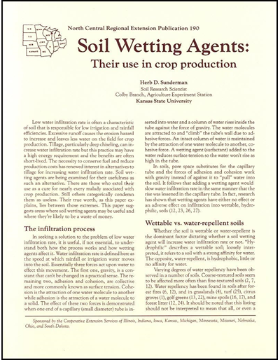 Soil Wetting Agents: Their Use in Crop Production