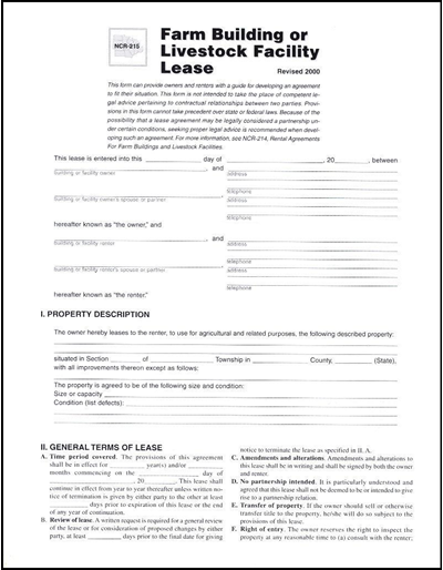 Rental Agreements for Farm Buildings and Livestock Facilities -- The Separate Lease Form