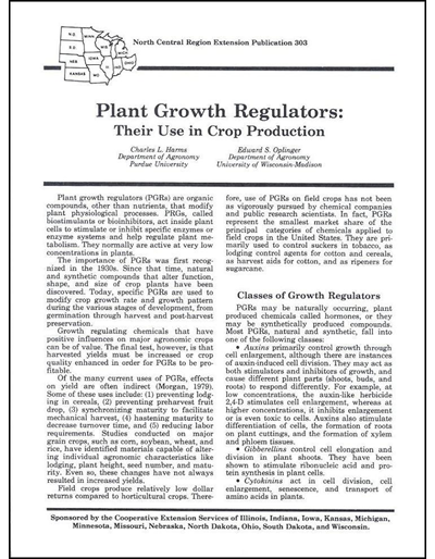 Plant Growth Regulators - Their Use in Crop Production