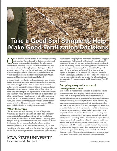 Take a Good Soil Sample to Help Make Good Fertilization Decisions