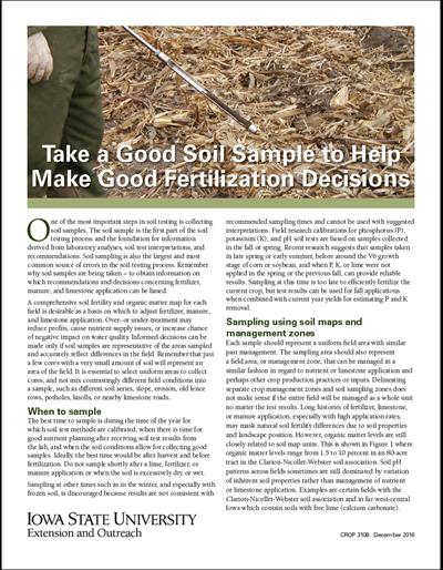 Take a Good Soil Sample to Help Make Good Fertilization Decisions