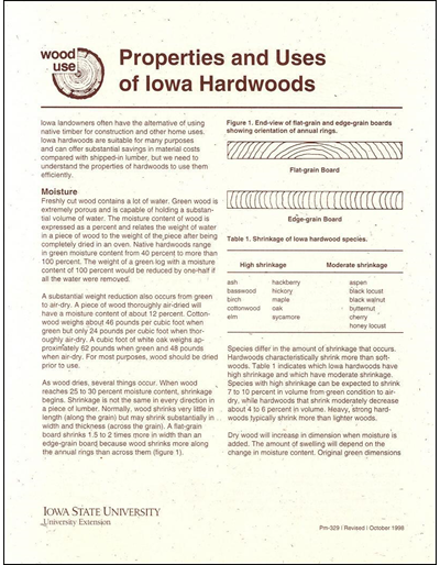 Properties and Uses of Iowa Hardwoods