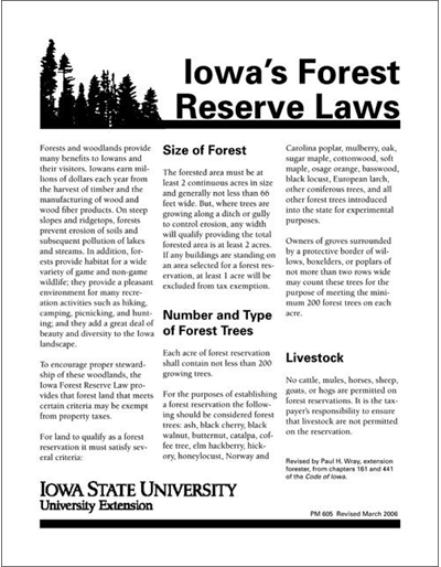 Iowa's Forest Reserve Laws