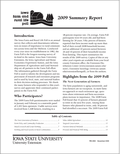 Iowa Farm and Rural Life Poll: 2009 Summary Report
