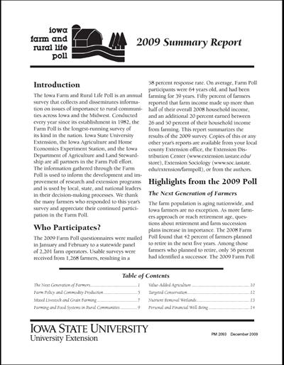 Iowa Farm and Rural Life Poll: 2009 Summary Report