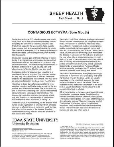 Contagious Ecthyma (Sore Mouth) -- Sheep Health Fact Sheet No. 1