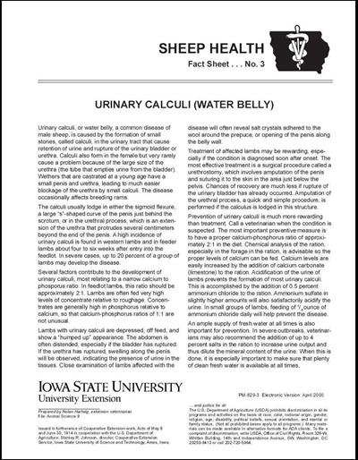 Urinary Calculi (Water Belly) -- Sheep Health Fact Sheet No. 3
