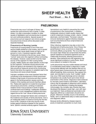 Pneumonia -- Sheep Health Fact Sheet No. 5