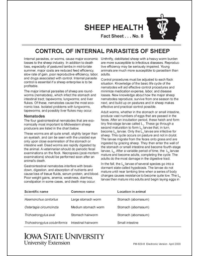 Control of Internal Parasites of Sheep -- Sheep Health Fact Sheet No. 8