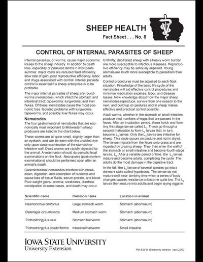 Control of Internal Parasites of Sheep -- Sheep Health Fact Sheet No. 8