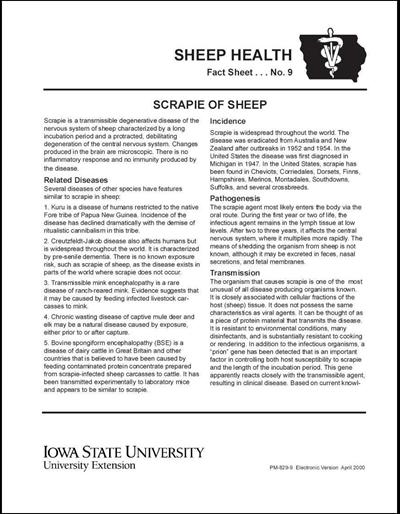 Scrapie of Sheep -- Sheep Health Fact Sheet No. 9