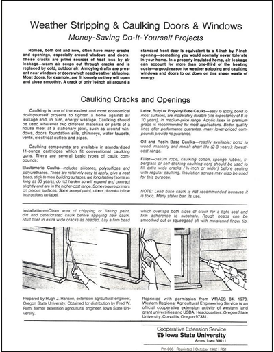 Weather Stripping and Caulking Doors and Windows