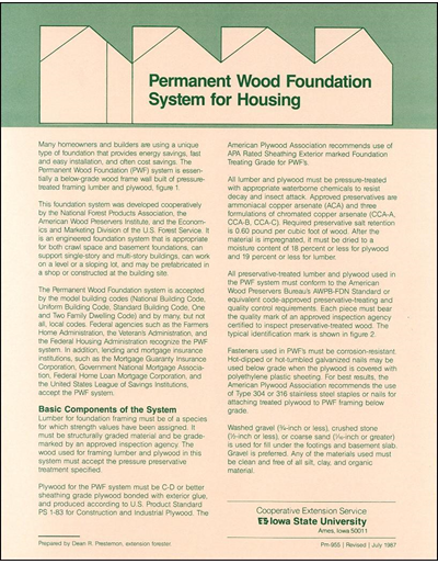 Permanent Wood Foundation for Housing