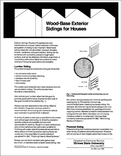 Wood-Base Exterior Sidings for Houses