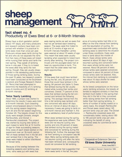 Productivity of Ewes Bred at 6- or 8- Month Intervals - Sheep Management