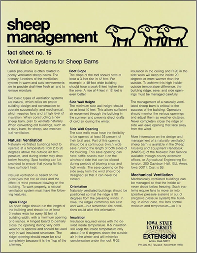 Ventilation Systems for Sheep Barns - Sheep Management