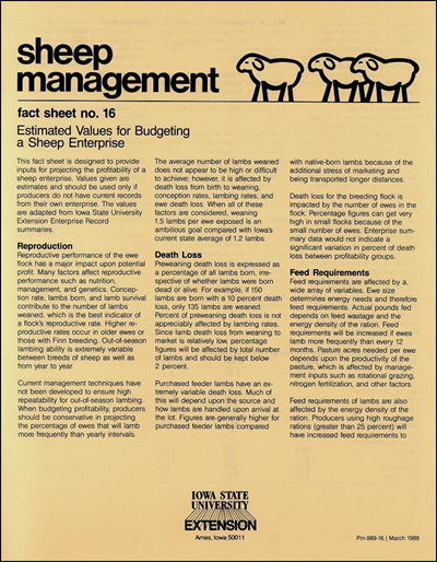 Estimated Values for Budgeting a Sheep Enterprise - Sheep Management
