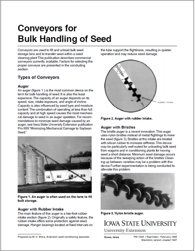 Conveyors for Bulk Handling of Seed