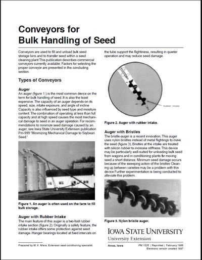 Conveyors for Bulk Handling of Seed